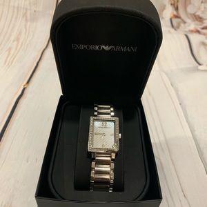 Emporio Armani silver watch with original box
